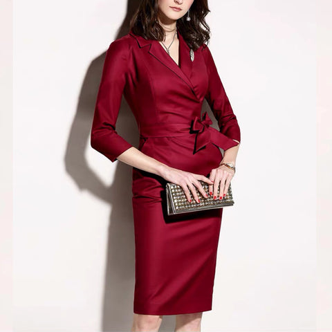 Fashion Commuter Professional Slim Red Dress