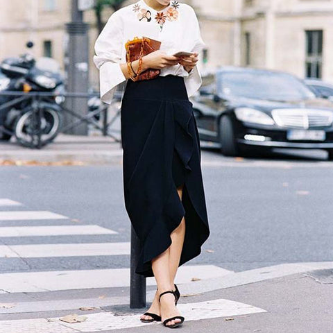 Fashion Solid Color Irregular Skirt