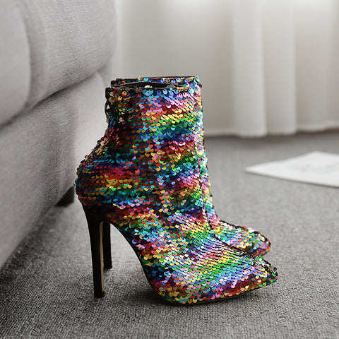 Fashion ladies sequins pointed high-heel ankle boots