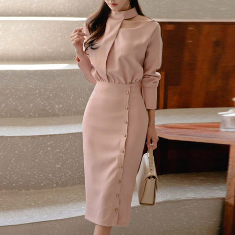 Commuting High Collar Single-breasted Long Sleeve Dress
