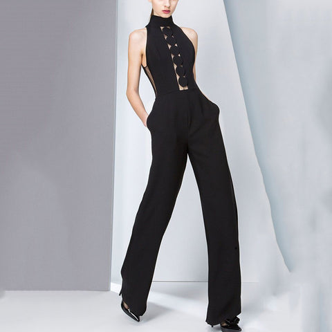 Women's Commuting Slim Sleeveless Cutout Overalls
