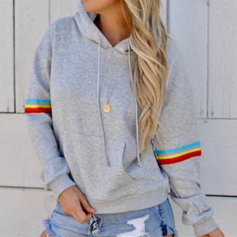 Women's hooded long-sleeved striped print loose sweater
