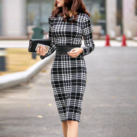 Commuting Plaid Round Neck Long Sleeve Loose Dress