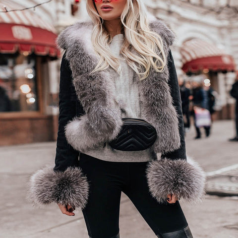 Ladies solid color fur collar thick coat