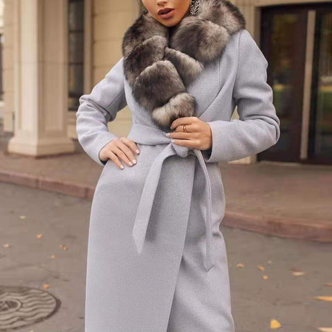 Women's Fashion Long Sleeve Splicing Fur Collar Gray Belted Overcoat