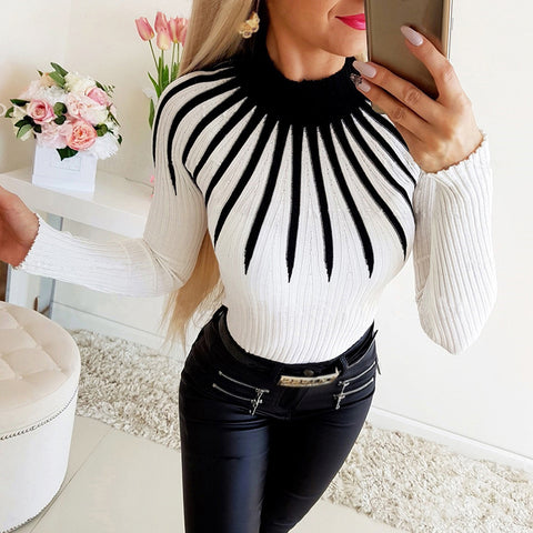 Ladies Fashion Casual Colorblock Turtleneck Sweater