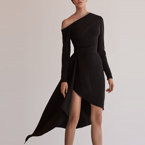 Elegant and sexy strapless long sleeve evening dress