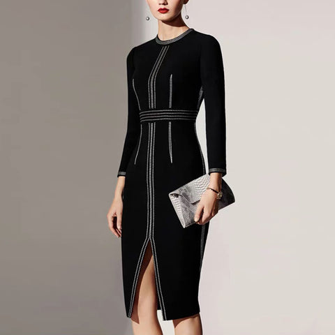 Temperament round neck contrast line design slit dress