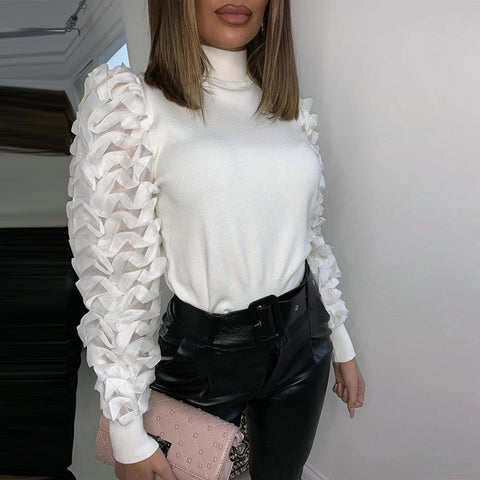 Casual Turtleneck Mesh Puff Sleeve Top
