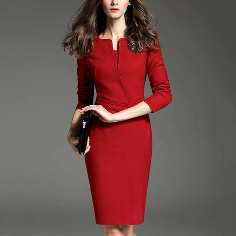 Women's fashion V-neck mid sleeve dress