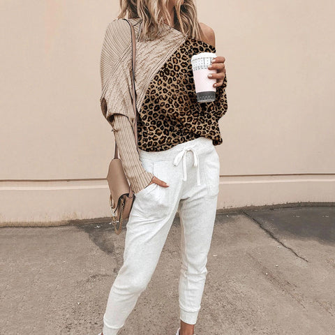 Women's Fashion Leopard Print Sloping Shoulder Loose Sweater