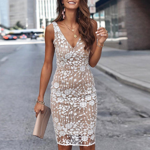 Sexy V-neck solid color sequined slim dress