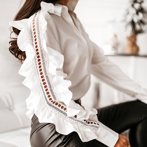 Lady ruffled sleeve button down shirt