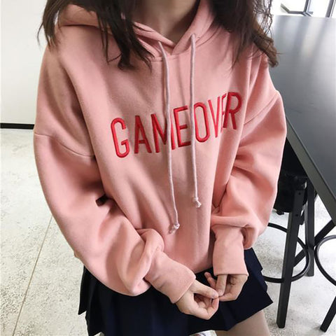 Casual Letter Print Loose Long Sleeve Hooded Sweatershirt