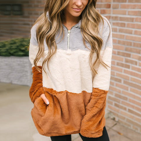 Casual Lapel Pull Color Matching Plush Long-sleeved Sweatershirt