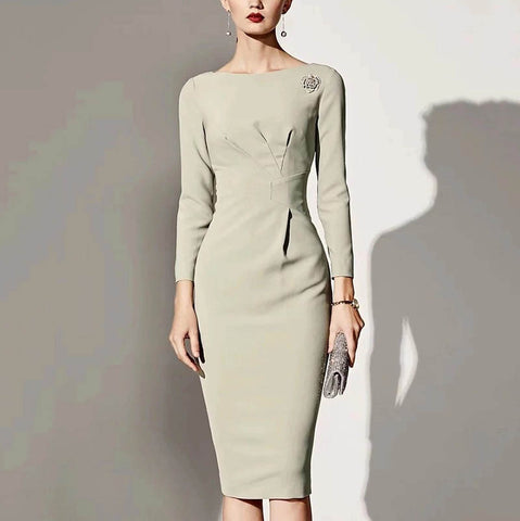 Light green slim commuter dress