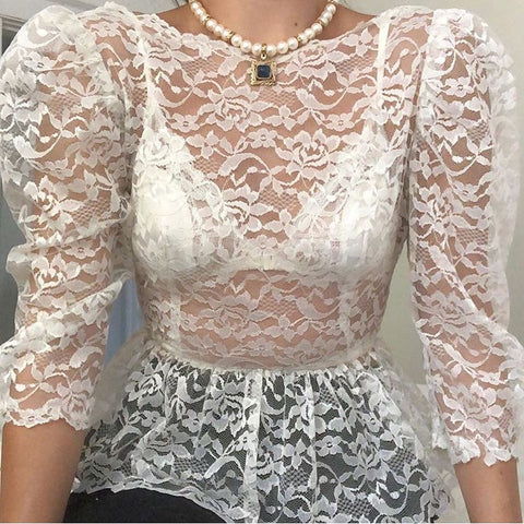 Sexy perspective lace long sleeve shirt