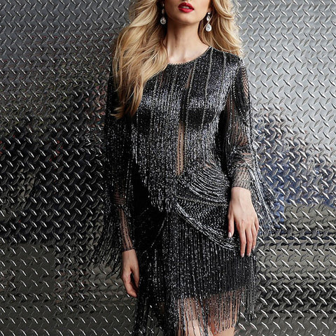 Fashion Round Neck Solid Color Fringe Long Sleeve Mini Dress