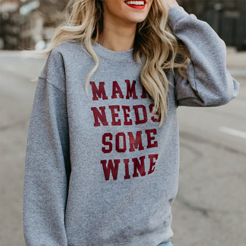 Casual Letters Printed Colour Long Sleeve Loose Sweatshirt