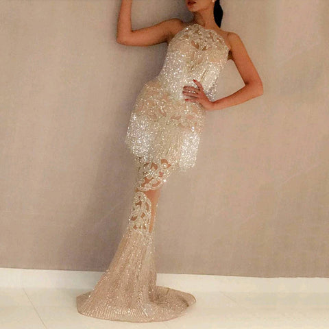 Ladies fashion sexy sequin dress