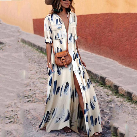 Button Down Collar Sleeve Maxi Dress