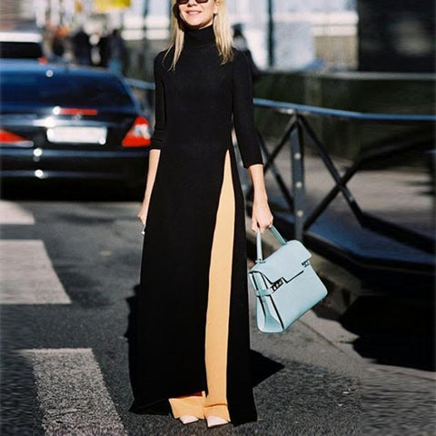Fashion Pure Color   Open Long Sleeves Maxi Dress