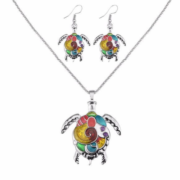 Colorful Sea Turtle Necklace and Earrings