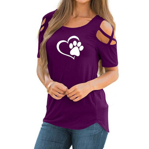 Image of Heart Paw Summer T-shirt Purple