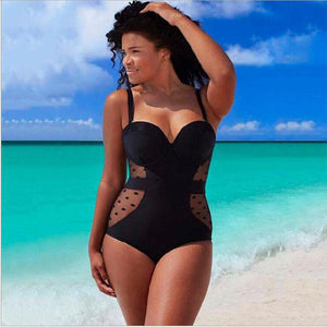 SEXY WOMEN PLUS SIZE ONE PIECE PUSH UP PADDED MESH PATCHWORK BATHING SUIT