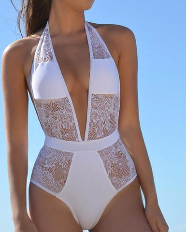 Image of SEXY HIGH CUT TRIKINI LACE CROCHET SWIMSUIT
