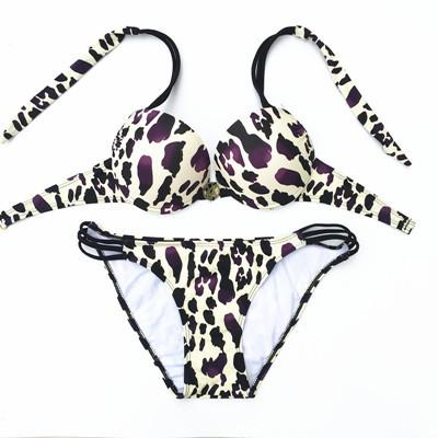 Image of SEXY WOMEN PUSH UP SWIMWEAR PRINT HALTER BIKINI SWIMSUIT