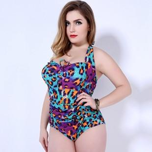 SEXY WOMEN LEOPARD PRINT ONE PIECE PLUS SIZE SWIMSUIT