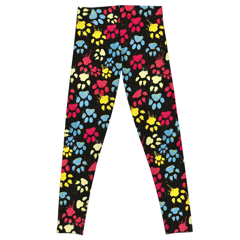 Multi Color Paw Printed Leggings