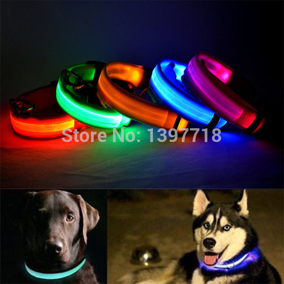 LED Nylon Pet Dog Collar - Night Safety LED Light-up Flashing Collar