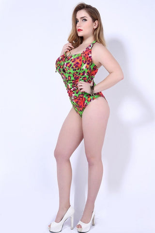 Image of SEXY WOMEN LEOPARD PRINT ONE PIECE PLUS SIZE SWIMSUIT
