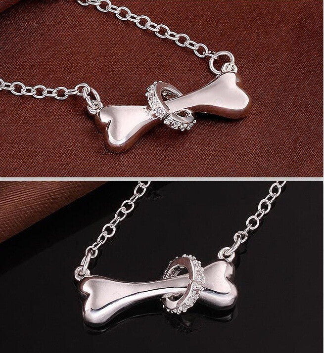 Paw silver necklace 925 sterling silver fine dog bone 18inch Pendant necklace