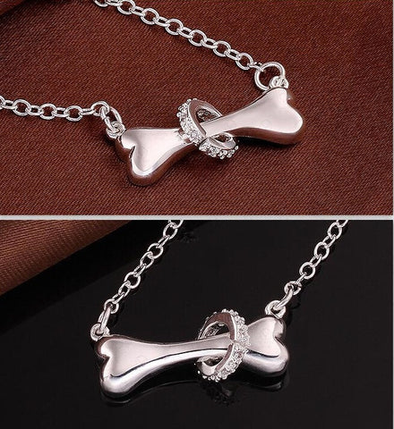 Image of Paw silver necklace 925 sterling silver fine dog bone 18inch Pendant necklace