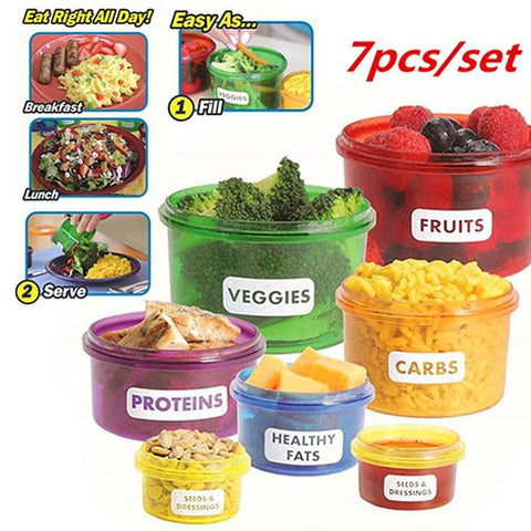7Pcs/set Portion Control Food Prep Storage Containers