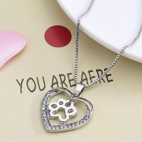 Necklace For Women Personalized Fashion Jewelry Crystal Rhinestone Dog Paw