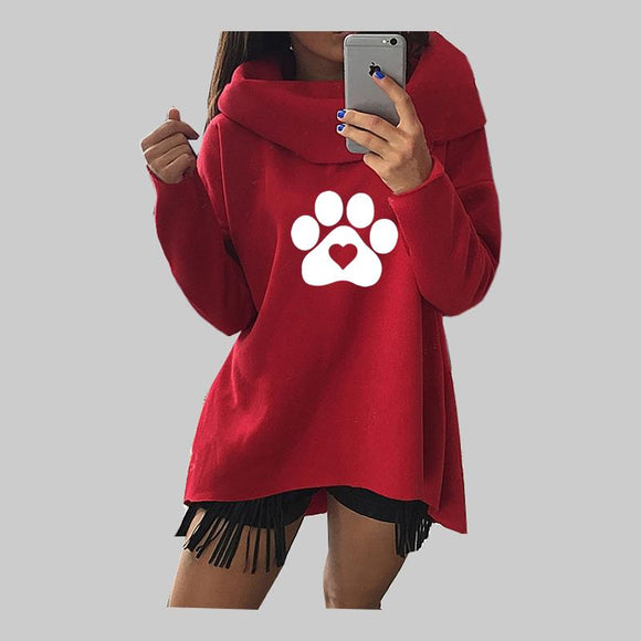Paw Heart Print Hoodie - Scarf Collar Pullover