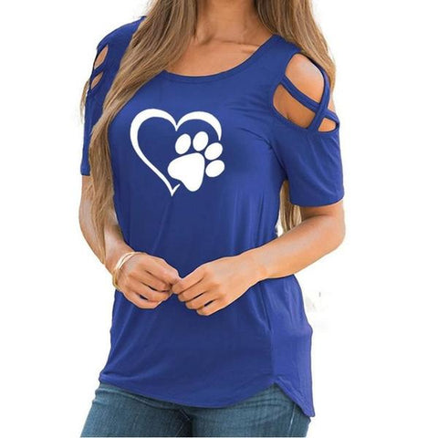 Image of Heart Paw Summer T-shirt Blue