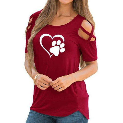 Image of Heart Paw Summer T-shirt Red
