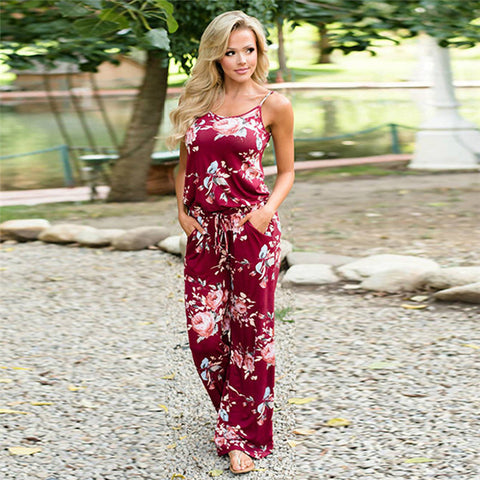 Image of Women Sexy Spaghetti Strap Loose Jumpsuit