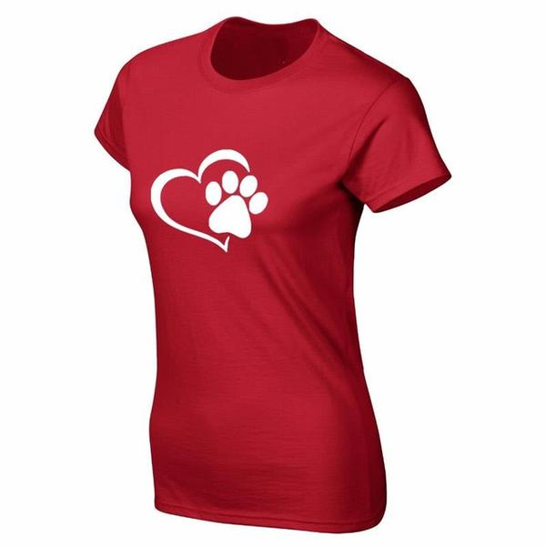 New Heart Paw T-Shirt Red