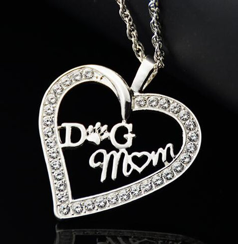 Image of Dog Mom Heart Pendant Necklace