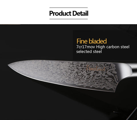 "8"" PROFESSIONAL SANTOKU CHEF KNIFE WITH PAKKAWOOD HANDLE"