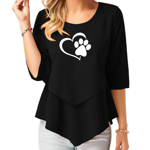 Women's Dog Paw Print  T-Shirt