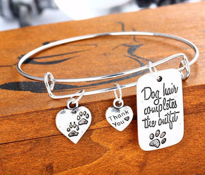 """Dog hair completes the outfit "" Dog Charms Bangle Bracelet"
