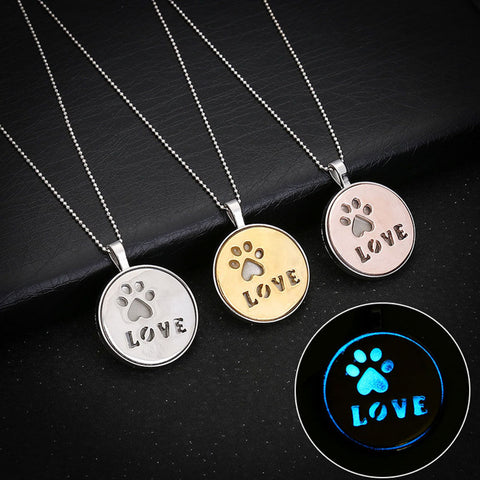 Glow In The Dark Paw Love Necklace