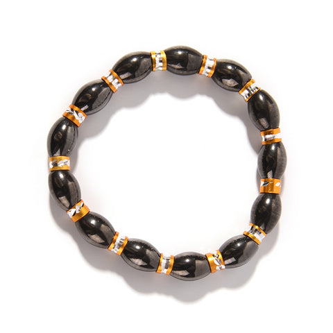 Image of Adjustable Weight Loss Round Black Stone Magnetic Therapy Bracelet